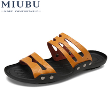 MIUBU Mens Summer Genuine Leather Brand Casual Shoes Men sandals Slippers Beach flip flops Free Shipping