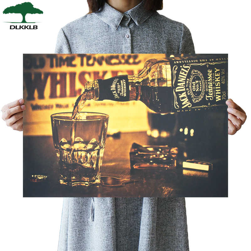 DLKKLB Classic Whisky poster JACK DANIELS Club Advertising Vintage Kraft Paper Wall Sticker Home Bar Cafe Decorative Painting