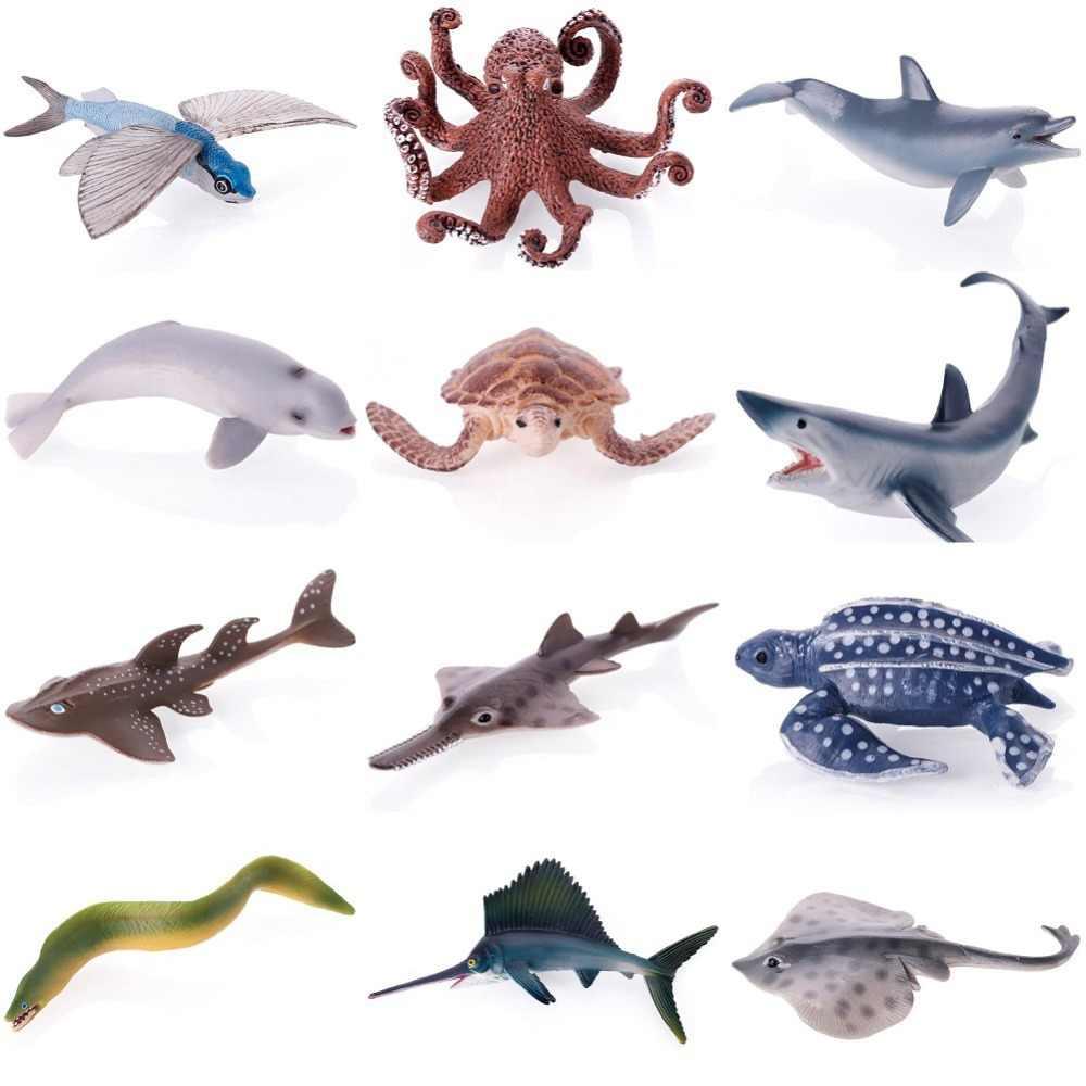 12 Pcs Vida Marinha Grande Tubarão Baleia Golfinho Caranguejo Tartaruga Simulação Modelo Animal Presente Coleção Figuras de Ação Educacional para Crianças