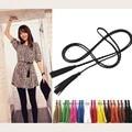 Moda mão-de malha de couro longo designer de cinto com cintos de borla partido trança & cummerbunds para as mulheres meninas cadeia cós