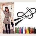 Moda tejidos a mano larga diseñador de la trenza de cuero correa de cintura con correas y cummerbunds para las mujeres niñas cadena de fiesta de la borla pretina