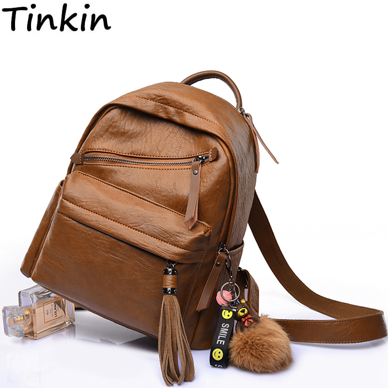 Fashion Mommy Backpack Casual School Bag Vintage Girl Laptop Backpack Tassel Women Mochila Lovely Bear Pompom Ball Shoulder Bag