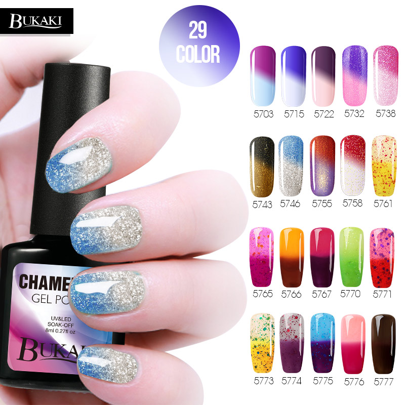 BUKAKI 1pcs Temperature Changing Colors Nail Gel Polish
