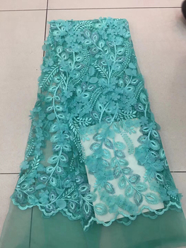 Latest French Lace Fabric 2018 High Quality Wedding African Lace Fabric Teal White Pink 3d Lace Fabric For Nigerian Lace LD2378