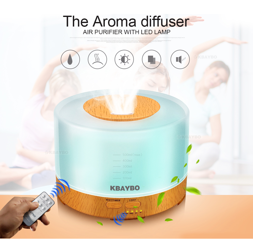 Essential Oil Diffuser 500ml remote control Aroma mist Ultrasonic Air Humidifier 4 Timer Settings LED light Aromatherapy aroma oil diffuser ultrasonic humidifier remote control 10s 2h 4h timer 500ml tank lamp wood ultrasonic humidifiers for home
