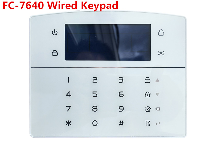 12V DC Wired Keypad  For FC-7640 TCP/IP GSM GPRS Alarm System Industriy Alarm System With Wired Zone
