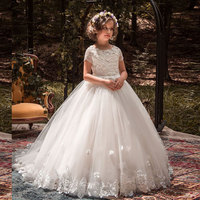 New Arrival Short Sleeves Lace Tulle Flower Girl Dress White Vintage Floral Appliques Kids Holy Communion Ball Gowns with Trains