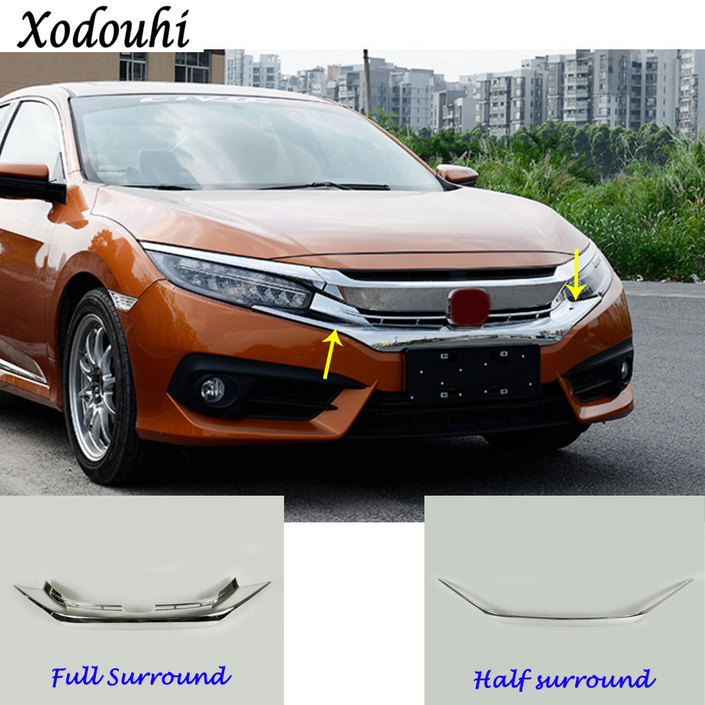 Car body cover bumper engine ABS trim Front Racing Grid Grill Grille frame part 1pcs For Honda Civic 10th Sedan 2016 2017 2018 high quality for toyota highlander 2015 2016 car cover bumper engine abs chrome trims front grid grill grille frame edge 1pcs
