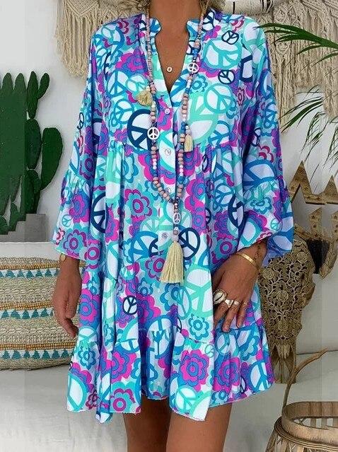 Large Size Women's Dress 2019 New Summer Dresses Print V-neck Loose Seven-point Sleeve Dresses