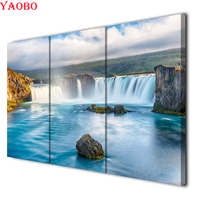Full Square/Round Diamond painting 3 Pieces Waterfall Blue River Pictures Mosaic diy 5d Cross Stitch Embroidery Diamond art