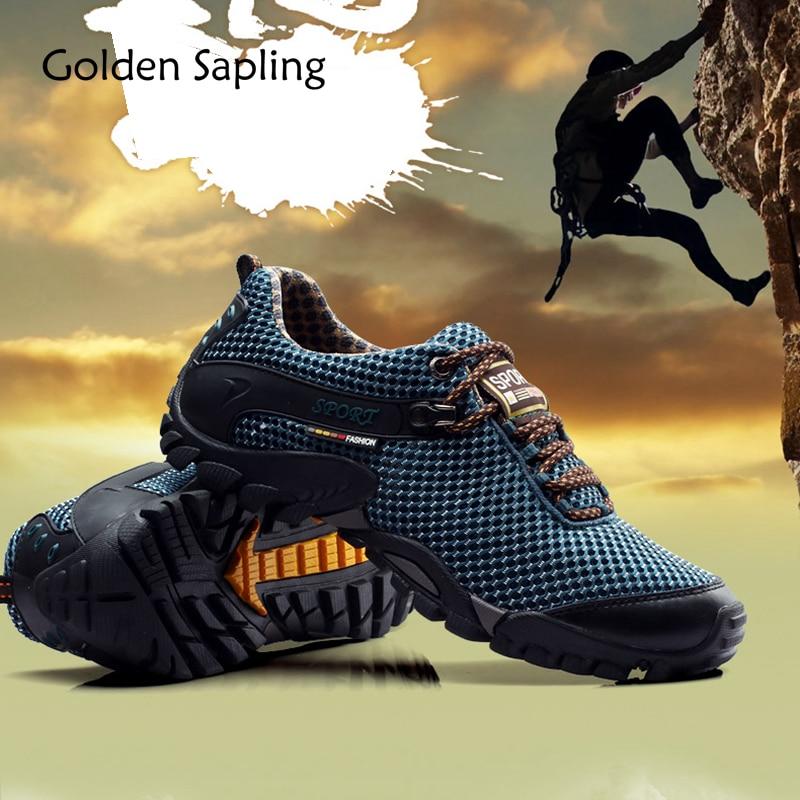 Golden Sapling Hiking Shoes Men Outdoor Mountain Man Sneakers Trekking Mens Sport Shoes Summer Air Fabric Men's Hunting Sneakers merrto mens summer sports outdoor trekking hiking sneakers shoes for men sport climbing mountain shoes man senderismo