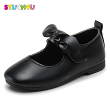 2018 Spring girl leather shoes for girls bow children's flat princess s