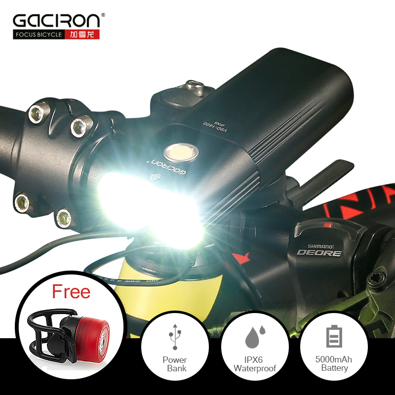 GACIRON 1600 Lumens Bicycle Light MTB Headlight Power Bank Waterproof USB Rechargeable Road Bike Lamp Flashlight FREE Tail light цены