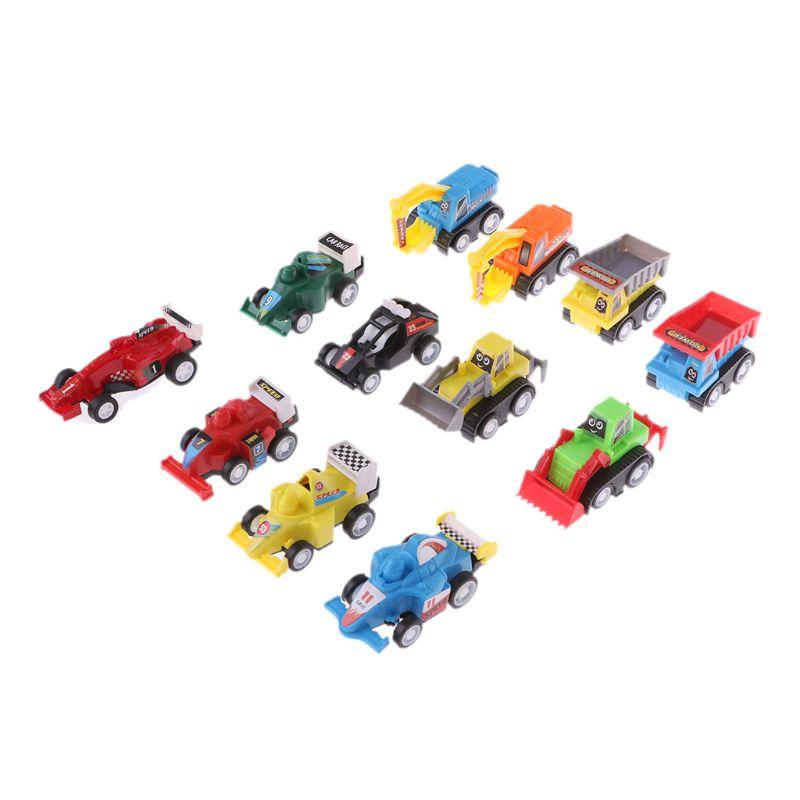 12 Pak Mini Diverse Bouw Voertuigen En Race Auto Speelgoed Pull Back Voertuigen Vrachtwagen Auto Speelgoed Set Voor Peuters Jongens Kind Kortingen Sale