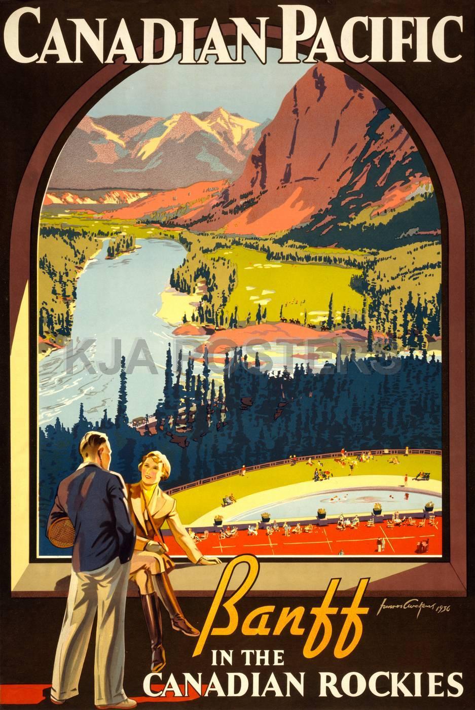 pop art canada pacific vintage retro kraft travel poster. Black Bedroom Furniture Sets. Home Design Ideas