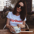 Summer T-shirt Women Casual Lady Top Tees Cotton Tshirt Female Brand Clothing T Shirt Girlboss Letter Printed Top Cute Tee