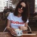 Verano Camiseta Ocasional de Las Mujeres de Señora Top Tees Camiseta De Algodón Mujer Ropa de la Marca de la Camiseta Girlboss Carta Impreso Top Camiseta Linda