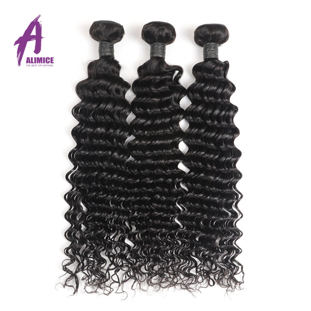 Alimice Peruaanse Haarbundels Diepe Golf Human Hair Extensions 100% - Mensenhaar (voor zwart) - Foto 2