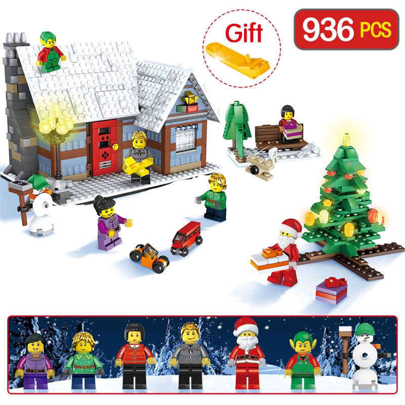 Technic Compatible LegoINGLY Christmas Snowman Winter Tree Village Cottage Building Blocks Brick Toy Gift Christmas 936pcs