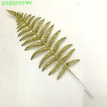 50pcs 2019 Persian leaf gold glitter christmas Artificial leaves Christmas decorations ,47*15 cm