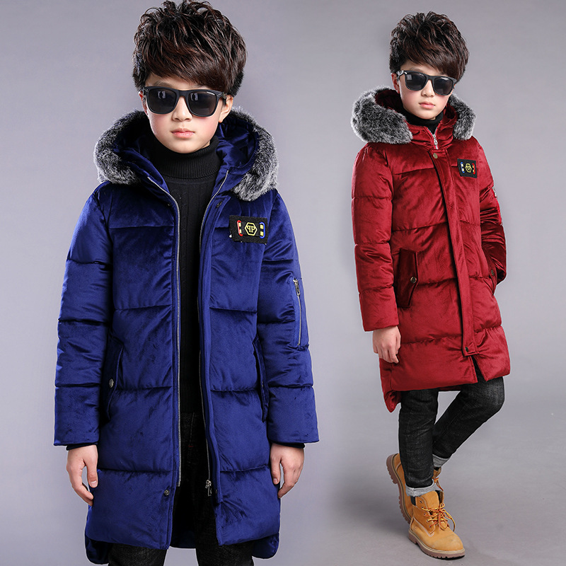 Boys Coats Winter Cotton Padded Outwear 2018 New Fashion Fur Collar Warm Jackets Thicken Kids Winter Coat 7 8 9 10 11 12 13 Year цена