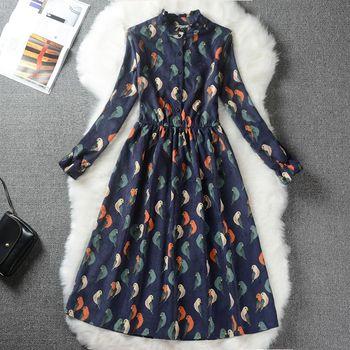 Autumn Winter Women Sweet Corduroy Dress Stand Collar Print Long Sleeve Femininos Vestidos Mori Girl Elegant Loose-Waist Dress 6