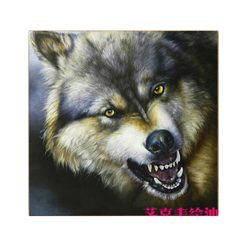 Hand-painted Gray Oil Painting On Canvas Abstract Ferocious wolf Head Oil Painting For Wall Art Home decorative painting