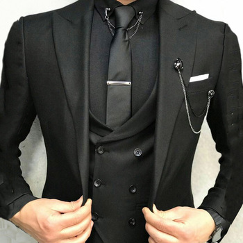 Custom Made Black Men Suits for Wedding Suits Man Business Blazers Groom Tuxedos Slim Fit Terno Masculino 3Piece Coat Pants Vest