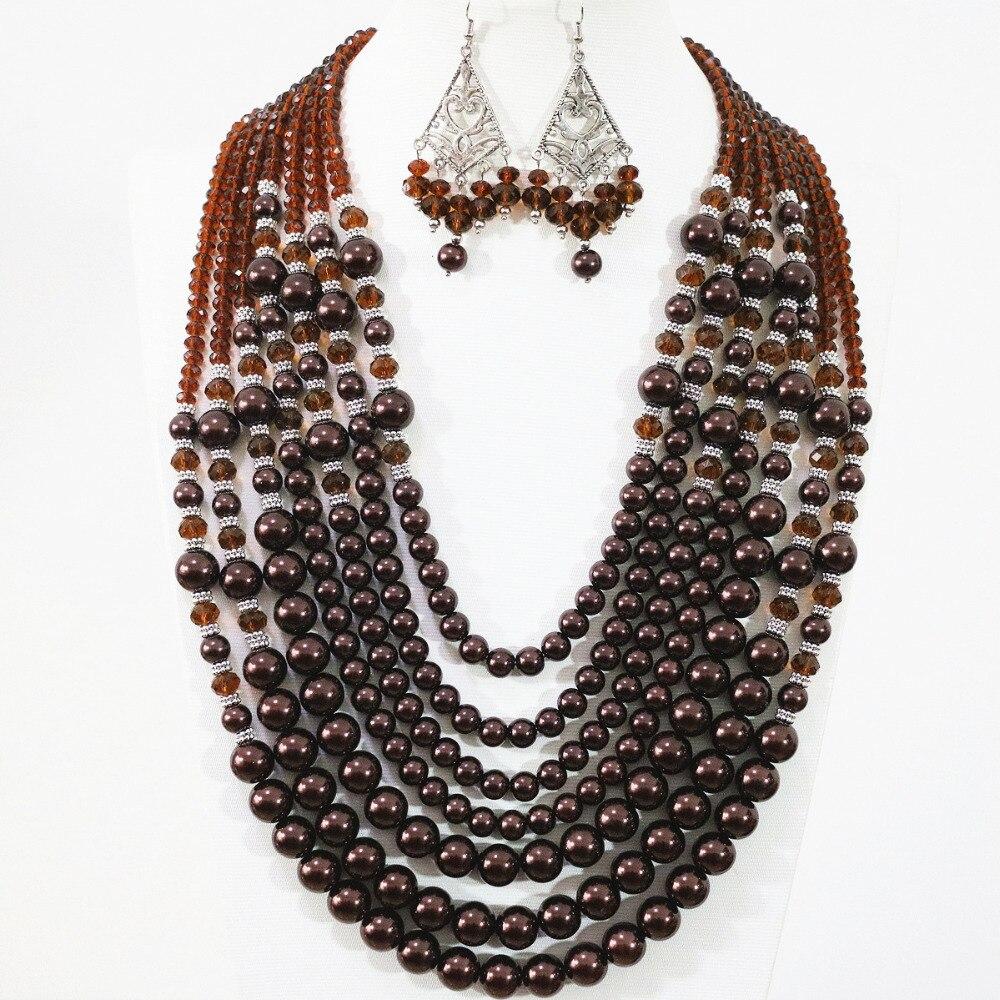 Sweat chololate round imitation shell pearl women fashion 7 rows necklace earrings charms gift jewelry set B1309