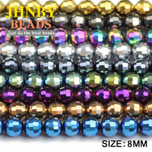 JHNBY 8mm 96 Faceted Football Austrian crystal beads 50pcs plated color Round Loose bead for Jewelry bracelet necklac making DIY