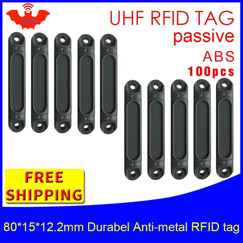 UHF RFID anti-metal tag 915mhz 868mhz Impinj Monza4QT EPCC1G2 6C 80*15*12.2mm durable ABS pallet smart card passive RFID tags