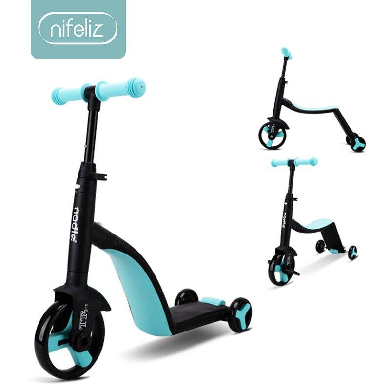 2019 enfants Scooter Tricycle bébé 3 en 1 Balance vélo peut s'asseoir monter sur des jouets cadeau