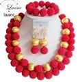 Traje moda jóias set casamento nigeriano beads africanos jewelry set red ball ABD675