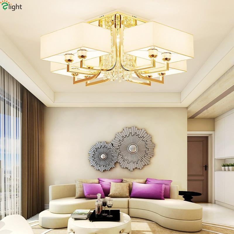 Modern Lustre Gold Metal E14 Led Ceiling Lights Crystal Living Room Led Ceiling Lamp Fabric Bedroom Led Ceiling Light Fixtures