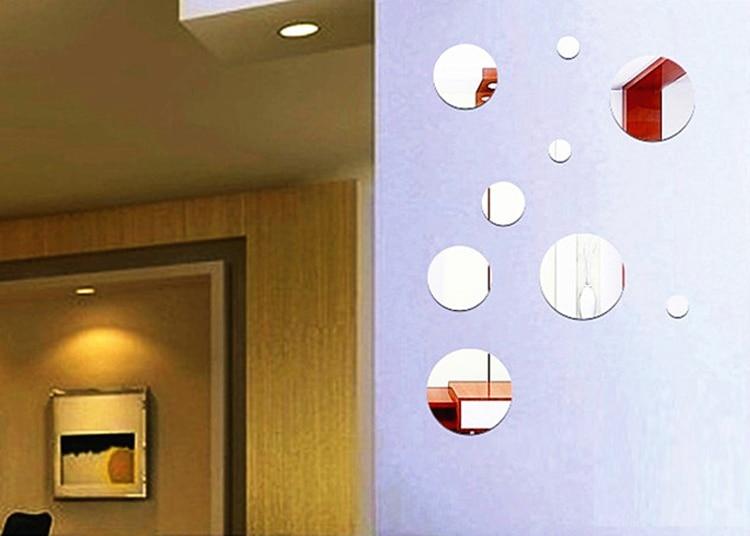 Us 1355 8 Offdiy Okrągłe Akrylowe Kryształowe Lustrzane Stereoskopowe Naklejki ścienne Dla Pokoju Gościnnego łazienka Dekoracja Sypialni W