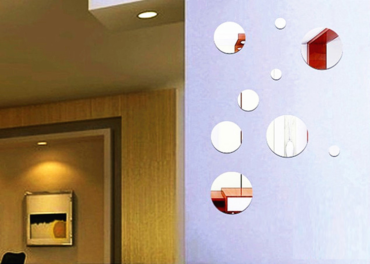 Acrylic Crystal Wall Decor: DIY Round Acrylic Crystal Mirrored Stereoscopic Wall