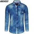 2017 Primavera New Arrival Homens Cowboy Camisas Turn-down Collar Único Breasted Masculino Calça Jeans Blusa de Algodão Camisa Masculina MXB0347