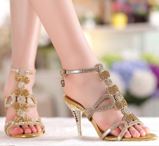 ФОТО Sandalias 2015 Sexy Rhinestone Crystal Slippers Genuine Leather Summer Shoes High-Heeled Sandals Plus Size 33-41
