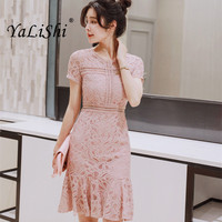 2018 Summer Women Lace Dress Black Pink Short Sleeves O Neck Dresses Bandage Bodycon Sexy Party Mermaid Dress Vestidos De Festa