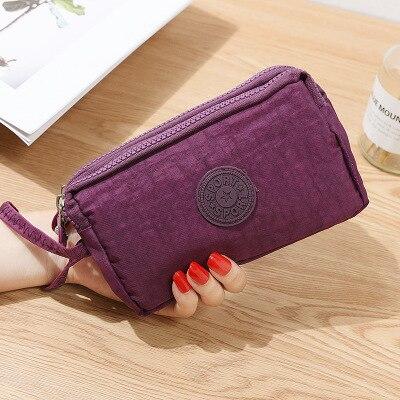 Женский кошелек, женский холщовый клатч, держатель для карт, Длинный кошелек, кошелек, высокое качество, вечерняя сумочка - Цвет: Dark Purple