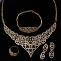 New Women wedding Jewelry Sets gold plated with Cubic Zircon 4pcs sets ( necklace + bracelet + earrings + ring) free shipment