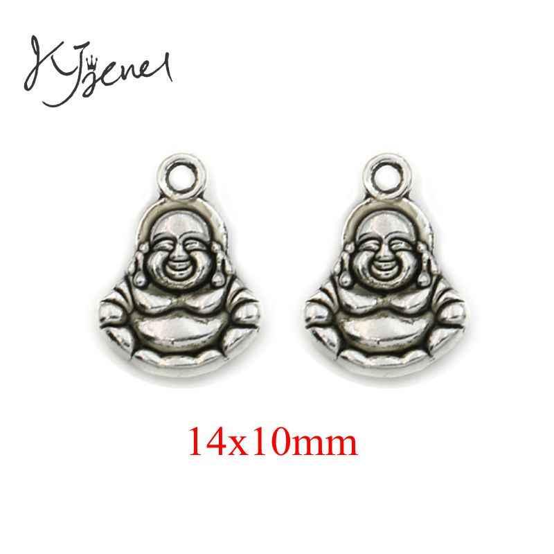 KJjewel Antigo de Prata Banhado Charme Buda Religiosa Pingente fit Pulseiras Apreciação Jóias Acessórios Fazendo Artesanato DIY 20x17mm