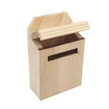 Деревянная наружная миниатюрная почтовая коробка, почтовый ящик, сделай сам, цвет для 1/12, кукольный домик, игрушки для детей, аксессуары для дома A515