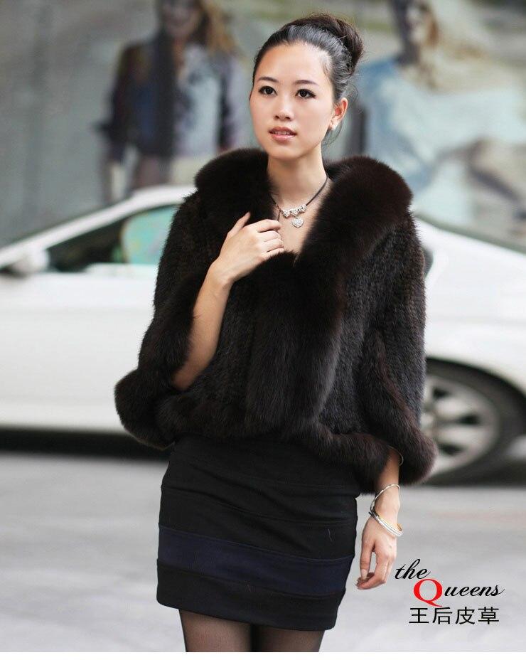 Genuine Mink Fur Shawls Mink Fur Poncho Women's Winter Fashion Ladies Knitted Scarves With Fox Fur Coats Warm
