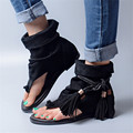 2017 New Fashion Women Genuine Leather Gladiator Sandals Flip Flops Rope Fringed Lace Up Flat Shoes Woman Casual Beach Flats