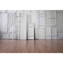 Laeacco Old Gray White Wooden Ladder Door Board Wall Planks Floor Baby Child Photo Backgrounds Photography Backdrop Studio