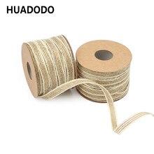 247f69029 HUADODO 5mm 10 metros de cáñamo Natural cinta de arpillera de yute cintas  cinta hecha a mano DIY regalo de fiesta decoración de .