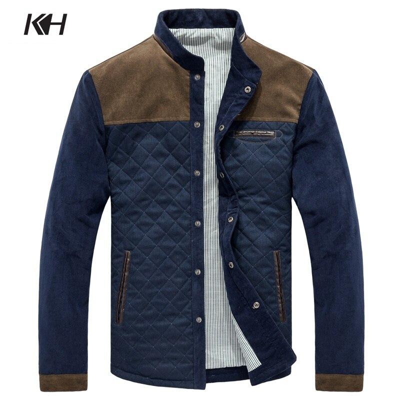 Dropshipping Mode Frühling Herbst herren Jacke Mens Casual stehkragen Cord Patchwork Plaid Mantel Männlichen Jacke männer Kleidung