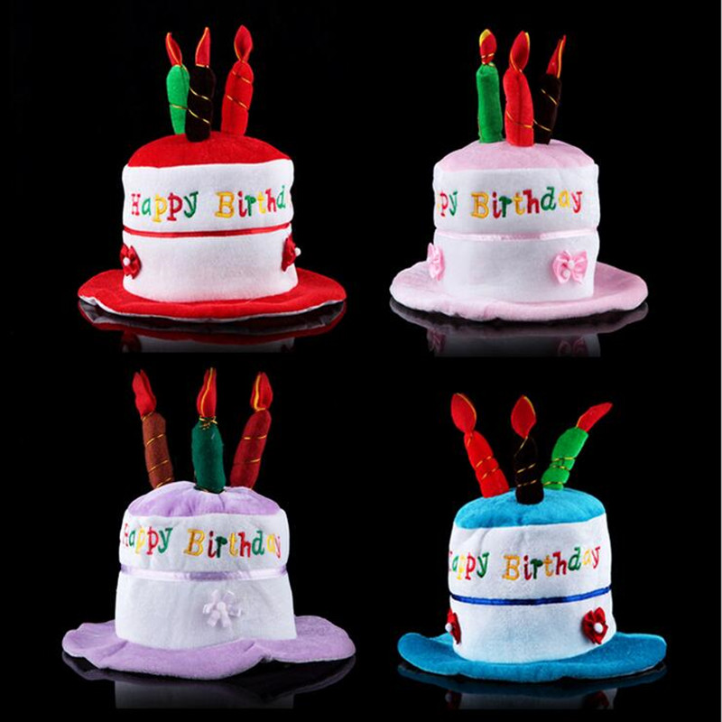 New Cute Birthday Cake Hat Kids Adults Candle Cap Boys Girls Head Hoop Hats Party Christmas