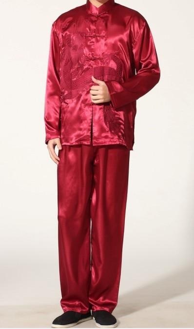 Burgundy Chinese font b Men s b font Polyester Satin font b clothing b font set